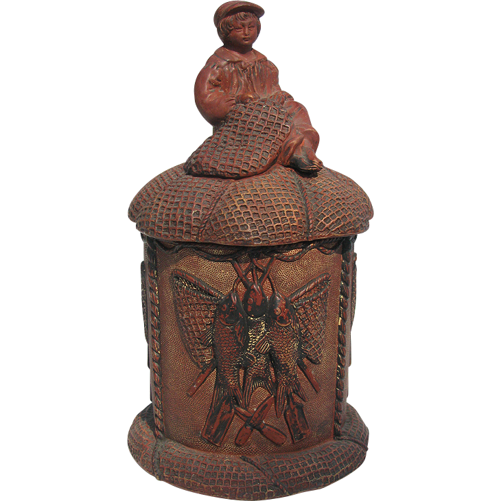 Figural Tobacco Jar Humidor - Fisher Boy Mending Nets - Terra Cotta by Wilhelm Schiller & Son