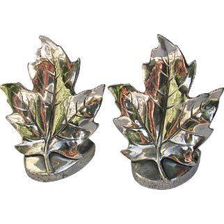Vintage Maple Leaf Bookends Figural Silver Plated