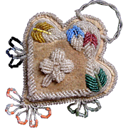 Native American Iroquois Beaded Heart Pin Cushion