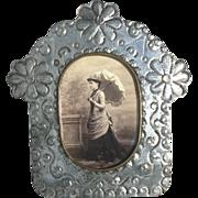 Vintage Tin Folk Art Picture Frame - Easel Frame for Cabinet Cards