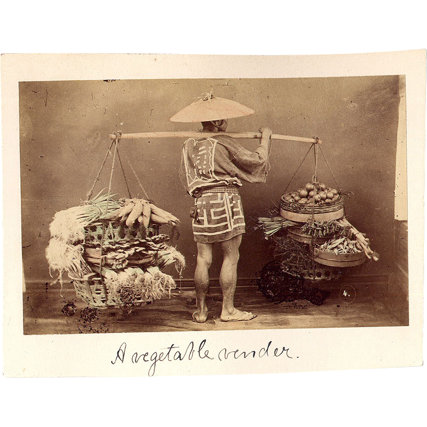 Antique Photo of Japanese Vegetable Vendor - Double sided & Hand-tinted