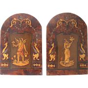 Inlaid Olive Wood Bookends Sorrento Ware - c1910 Marquetry Folding Bookends Italy