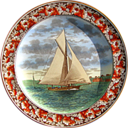 """Antique Wedgwood Sailboat Plate """"The Lillie"""" at Telegraph Hill - Date Code for 1905"""