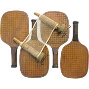 Old Paddle Tennis Paddles Patented 1923 - Set of 4