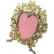 Antique Heart Shaped Easel Frame c1880 Ivy Motif Gilded Metal