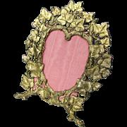 Antique Heart Shaped Easel Frame c1880 Ivy Motif Gilded Metal