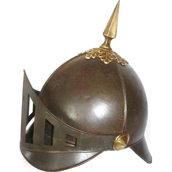 Odd Fellows Helmet - Antique Tin & Brass Odd Fellows Guardian Helmet