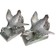 Vintage Silver Duck Bookends by J.B. Art Deco Figural Ducks in Flight