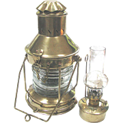 Vintage Nautical Ship's Lantern with Oil Kerosene Burner c1950 USED