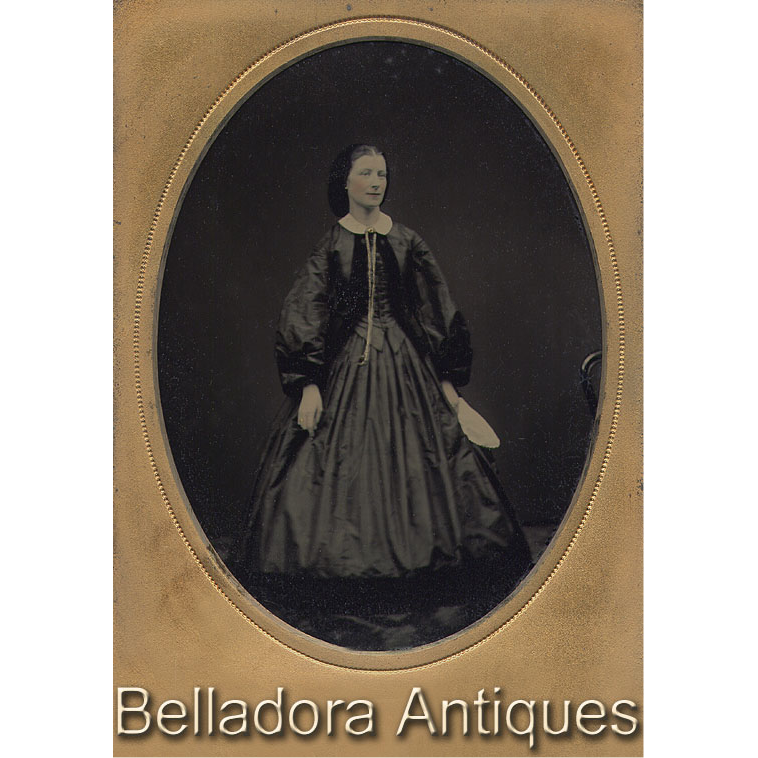 1/4 Plate Ambrotype Regal Lady - Full length Standing c1860