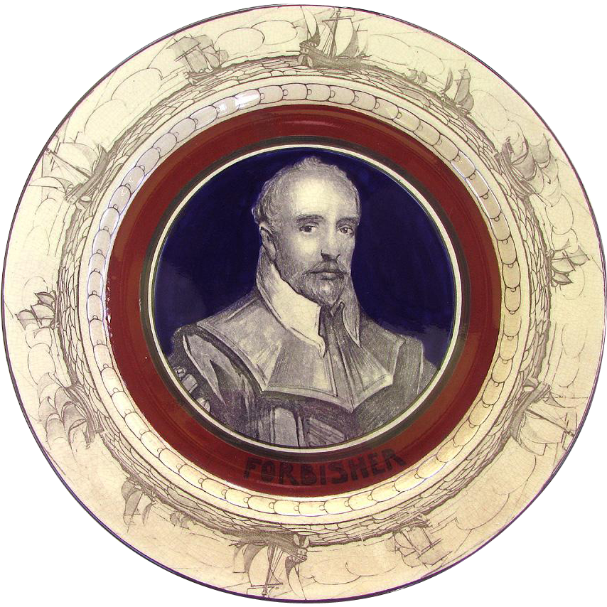 Antique Nautical Frobisher Plate c1907 Royal Doulton misspelled Sir Martin Frobisher's  Name