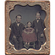6th Plate TINTED Ambrotype of Dad & the Kids - Boy & Girl - Nice one!