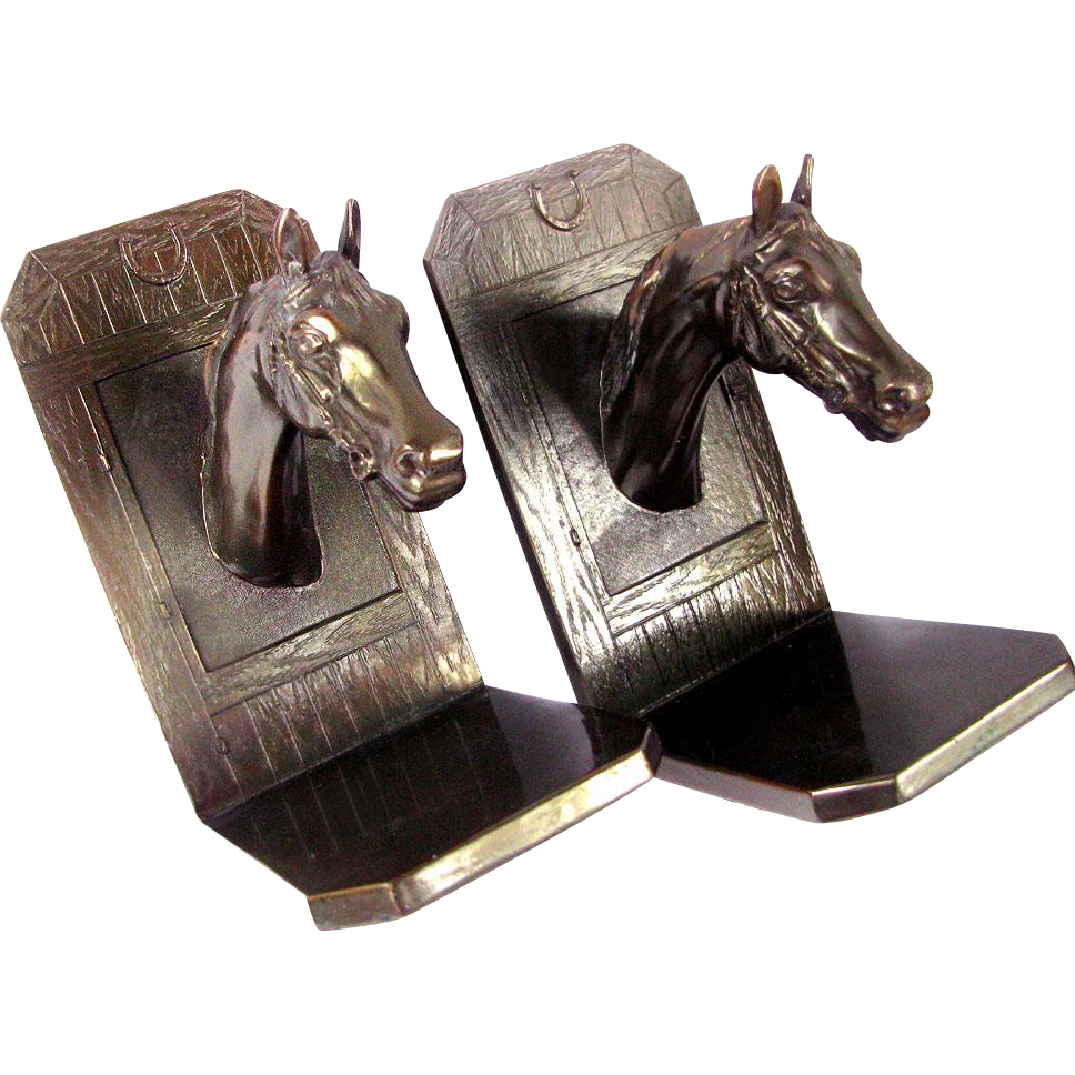 Vintage Figural Thoroughbred Horse Bookends - Bronzed metal