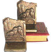 Vintage Owl Family Bookends Gilded Iron c1925 - Weidlich Brothers