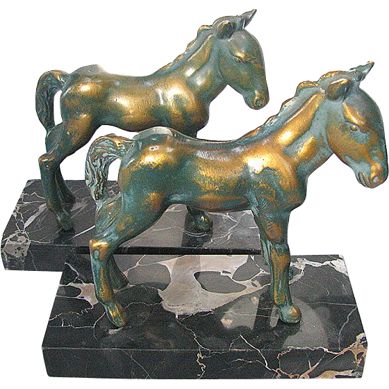 Art Deco Horse Bookends Bronze on Marble c1930
