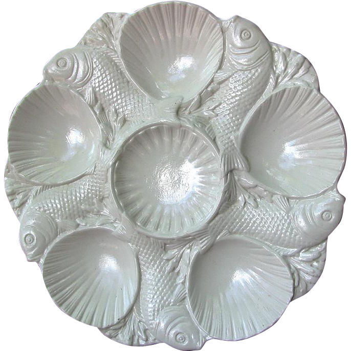 Mintons Salt-Glaze Oyster Plate Fish and Shell Design c1900