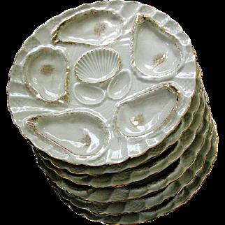 Set Antique Oyster Plates (6) c1890 - Porcelain lots of Gilding - Excellent Condition