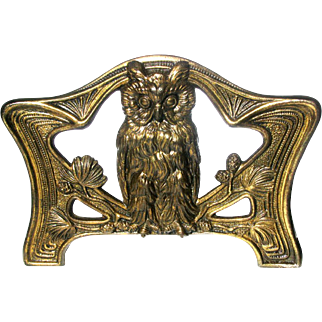 Art Nouveau Owl Book Slide c1900 Iron and Brass Expandable Bookends by Judd