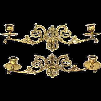 Art Nouveau Piano Sconces c1900 Bronze and Brass Pair Candle Sconces