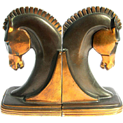 Art Deco Horse Head Bookends Copper Luster Patinated c1930