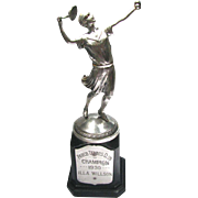 Flapper Girl Tennis Trophy - Roaring Twenties Figural Ladies Tennis Trophy