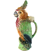 Antique Majolica Parrot Absinthe Decanter by Keller et Guerin France - Figural Majolica Parrot Pitcher