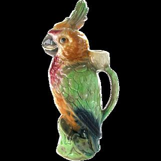 Antique Majolica Parrot Absinthe Decanter by Keller et Guerin France - Figural Majolica Parrot Pitcher