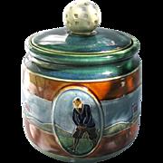 Figural Golf Humidor c1920 England Stoneware Glazed Golf Tobacco Jar