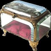 Antique French Jewel Box c1890 Souvenir Trinket or Jewelry Casket BIGGER THAN MOST
