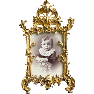 """Antique Gilded Bronze Easel Frame Patented 1894 Baroque Style 12"""""""