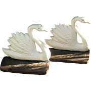 Vintage Figural Swan Bookends Cast Iron c1925