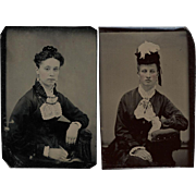 Pair Fashionable Young Ladies Tintypes