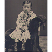 Tintype Little Boy from Lowell Mass in Victorian Fancy Dress