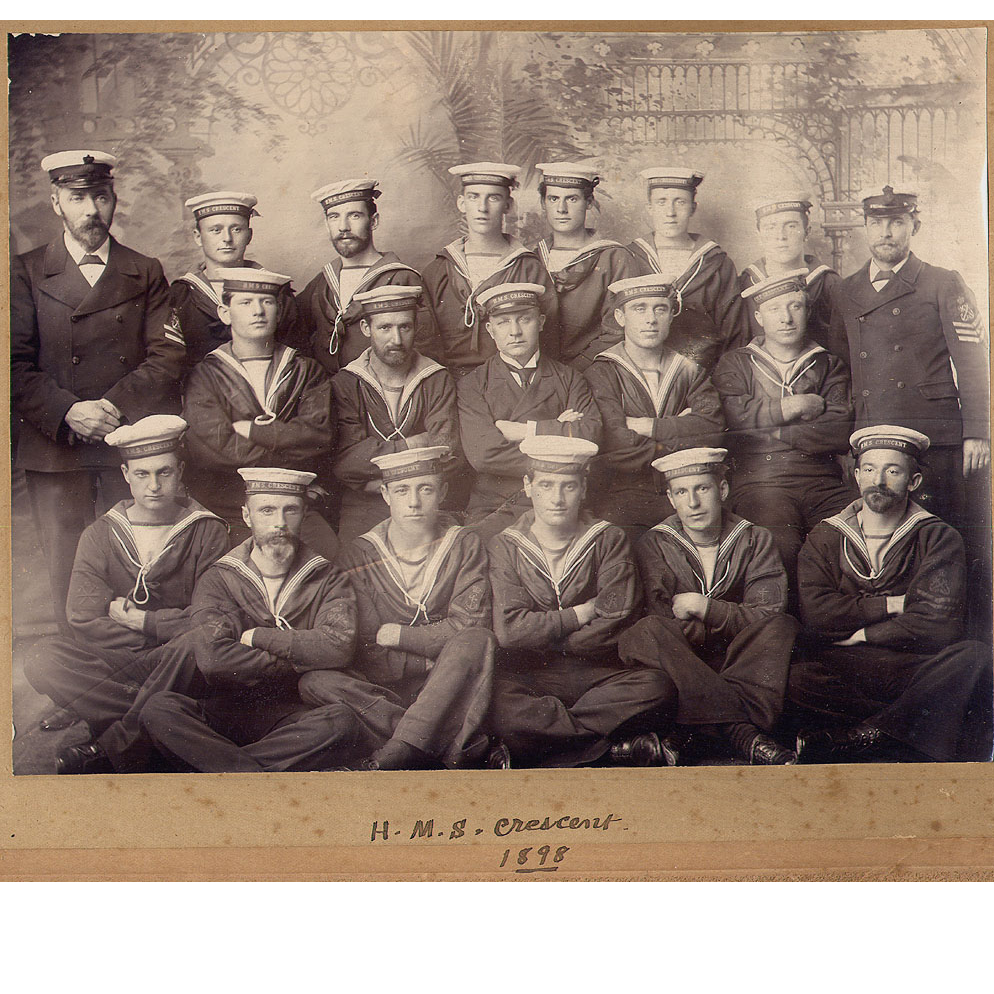 Antique Sailors Photo  - 1898 Crew of the H.M.S. Crescent - Canadian Battleship / Royal Navy
