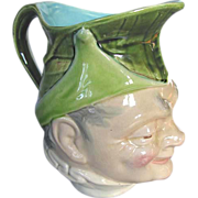 Majolica PUCK Character Jug by Sarreguemines, Antique Majolica France, dated 1901