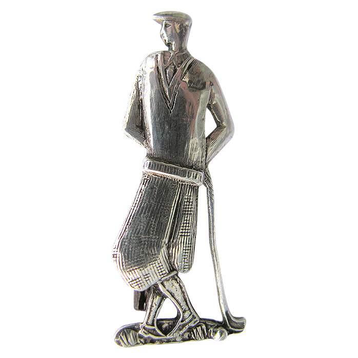 Sterling Golf Pin - Art Deco Golf Brooch - Stylish Figural