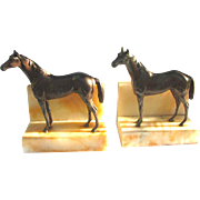 Vintage Figural Horses on Alabaster Bases c1925 Thoroughbred Bookends