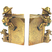 Vintage Little Cowboy Bookends with Scottie Dog - Figural Gilded Bookends c1925