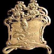 Art Nouveau Lady Playing Mandolin Letter Rack - Gilded Brass c1890