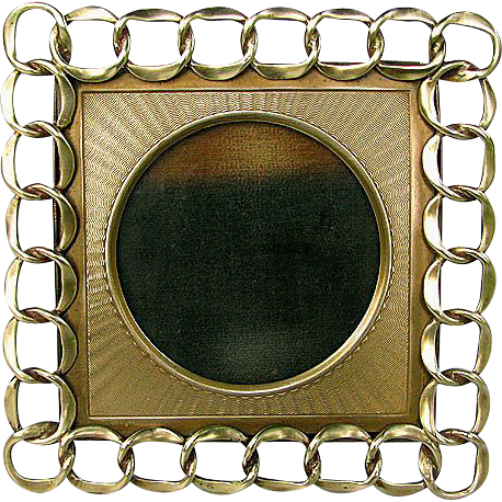Antique English Brass Ring Frame with Unique Brass Mat. Excellent Condition