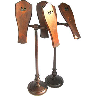 Antique Shoe Display Stands PAIR Wooden Adjustable Victorian Display Stands