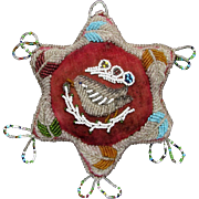 Native American Iroquois Beaded Star Pin Cushion with Song Bird