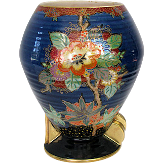 Art Deco Crown Devon Vase - Enamelled Ribbed Lustre Devon Lustrine Fieldings Vase England