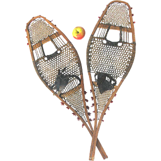 Antique Native Made Snowshoes Pompom Huron Style c1900