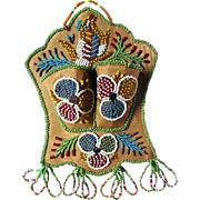 Native American Iroquois Beaded Match Holder with Beaded Bird