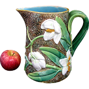 George Jones Majolica Orchid Pitcher c1870 Large Size