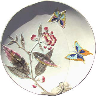 Antique Majolica Wedgwood Argenta Ware Plate Butterflies and Blossoms