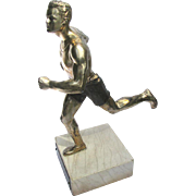Vintage Figural Running Trophy - Track and Field Men's Sprinting Relay Hurdling Trophy