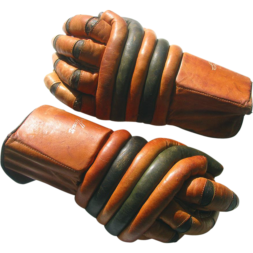 Early Gordie Howe Hockey Gloves All Leather - Unusual Design Ice Hockey Gloves c1950