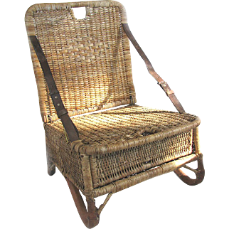 Wicker Fishing Seat - Folding Fishing Camp or Canoe Seat Early 20th C